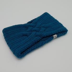LAST MINUTE Gestricktes Stirnband *ZOE *  Handarbeit  aus Wolle von zimtblüte dunkles Petrol  - Handarbeit kaufen