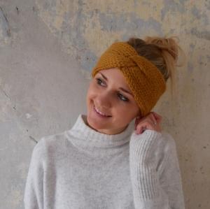 Stirnband CARO double Wolle aus Alpaka von zimtblüte senfgelb handgestrickt