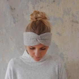 Stirnband CARO double Wolle mit Kaschmir von zimtblüte hellgrau und anthrazit
