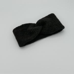 Stirnband Modell CARO double handgestrickt von zimtblüte schwarz - Handarbeit kaufen