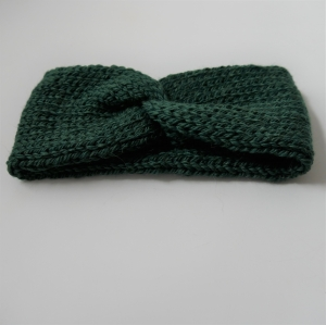 Stirnband CARO double Wolle aus Alpaka von zimtblüte  handgestrickt  in grün