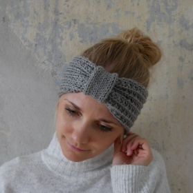 Stirnband * RIKKE * grau melange aus Wolle handgestrickt mehrere Farben  von zimtblüte   - Handarbeit kaufen