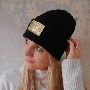 Hipster Beanie HELLO mit XL Label Mütze von zimtblüte