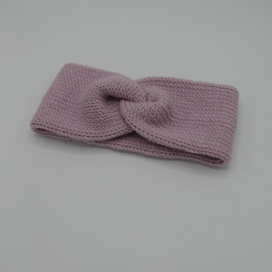 Stirnband Modell CARO double Wolle puderrosa von zimtblüte handgestrickt   - Handarbeit kaufen