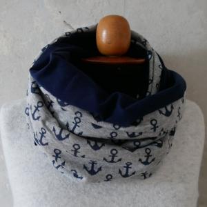 SALE ! Schlauchschal  AHOI  XL auch Stillschal mit Anker von zimtblüte kaufen - Handarbeit kaufen