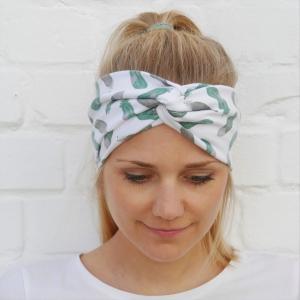 !SALE! TurbanStirnband mint  FEDERN Handarbeit von zimtblüte  TurbanHaarband mit Twist kaufen  - Handarbeit kaufen