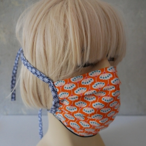 Behelfs-Mund-Nasen-Maske, Staubmaske PUSTEBLUME orange für Frauen von zimtblüte