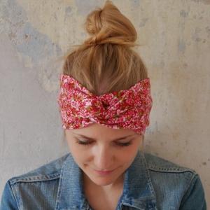 TurbanStirnband  RÖSCHEN handmade Haarband mit Twist in rot von zimtbluete