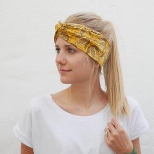 TurbanStirnband  GELBE BLUMEN handmade Haarband mit Twist in senfgelb von zimtbluete