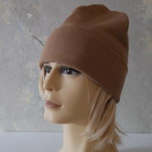 Hipster Beanie aus Rippenjersey mit XL Label Mütze beige und andere Farben von zimtblüte      - Handarbeit kaufen