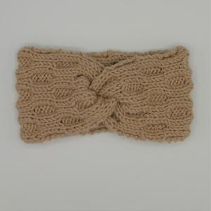 Stirnband Modell ENNA mit Twist sand von zimtblüte handgestrickt  - Handarbeit kaufen