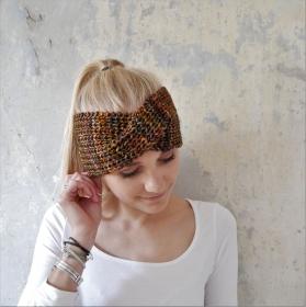 LAST MINUTE  ! SALE ! Stirnband Modell MARIE mit TWIST Frauen Farbverlaufswolle handgestrickt von zimtblüte     - Handarbeit kaufen