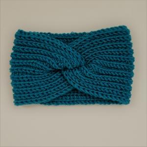 LAST MINUTE TÜRKISfarbenes Turban Stirnband Modell CARO  mit Twist von zimtblüte handgestrickt    - Handarbeit kaufen