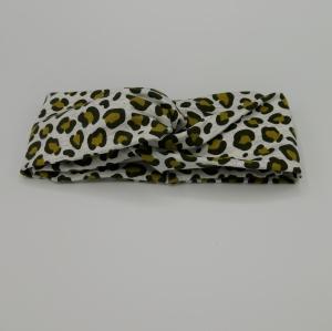! SALE ! Turban Stirnband LEOPRINT  zartes Grau von zimtblüte im Turbanstyle   - Handarbeit kaufen