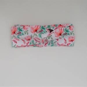 ROSE auf weiß Turbanstyle Stirnband mit Twist handmade Haarband von zimtbluete  - Handarbeit kaufen