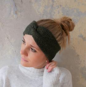 RoseGold Stirnband Modell CARO double Wolle mit Glitzer von zimtblüte  handgestrickt  in grün  - Handarbeit kaufen