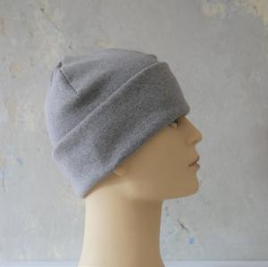Hipster Beanie für Herren GRAU Rippenjersey MännerMütze von zimtblüte    - Handarbeit kaufen