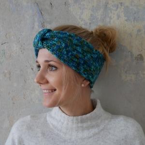 LAST MINUTE ! SALE ! Stirnband EINZELSTÜCK petrol mit Farbsprenkeln aus Wolle handgestrickt  von zimtblüte   - Handarbeit kaufen