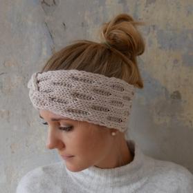 Stirnband Modell ENNA beige mit Twist von zimtblüte handgestrickt