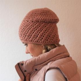 LAST MINUTE PUDERROSA Beanie gehäkelt  Modell * ANITA *  Häkelmütze, Wollbeanie von zimtblüte  - Handarbeit kaufen