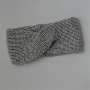 Stirnband * TWIST *  mit Kaschmir für Frauen hellgrau und schwarz handgestrickt von zimtblüte   - Handarbeit kaufen