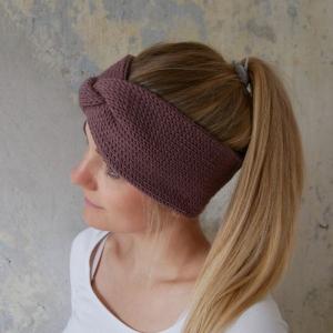Brombeerfarbenes Stirnband Modell CARO double Wolle  von zimtblüte handgestrickt   - Handarbeit kaufen
