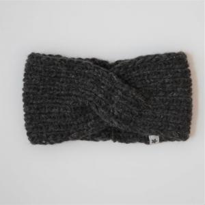 Stirnband * TWIST *  mit YAK für Frauen anthrazit schwarz handgestrickt von zimtblüte   - Handarbeit kaufen