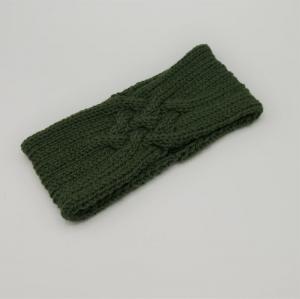 Stirnband ZOE in  jägergrün Handarbeit  aus Wolle mit Kaschmir  von zimtblüte - Handarbeit kaufen