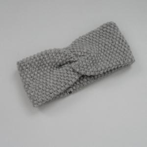 Stirnband Modell CARO double Wolle mit Kaschmir von zimtblüte hellgrau und schwarz - Handarbeit kaufen