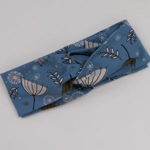 Turban Stirnband mit SCHIRMCHEN jeansblau Handarbeit von zimtblüte Haarband  - Handarbeit kaufen