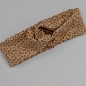 Stirnband im trendy Turbanstyle LEO sand Handarbeit von zimtblüte Haarband  BIOBaumwolle