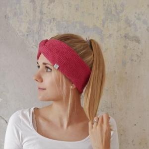 HIMBEERfarbenes Stirnband Modell CARO double Wolle  von zimtblüte handgestrickt  - Handarbeit kaufen