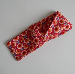 Stirnband mit Twist orange BLUMEN von zimtblüte im Turbanstyle handmade  - Handarbeit kaufen