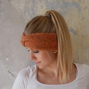 Stirnband Modell CARO double Baumwolle mit Alpaka rost von zimtblüte  - Handarbeit kaufen
