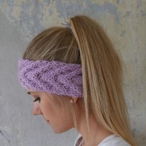 Stirnband **EFFI alpaka** violett handgestrickt von zimtblüte mehrere Farben   - Handarbeit kaufen