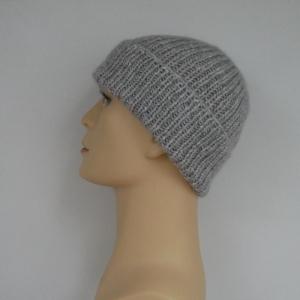 Mütze ANTON graumelange mit Kaschmir Fischermütze handgestrickt für Männer von zimtblüte - Handarbeit kaufen