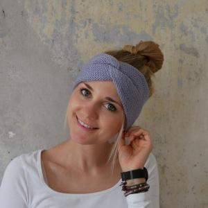 Stirnband Modell CARO double Wolle zartes dusty flieder von zimtblüte handgestrickt kaufen  - Handarbeit kaufen