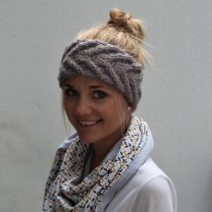 Stirnband  EFFI alpaka  in hellem oder dunklem GRAU von zimtblüte handgestrickt kaufen - Handarbeit kaufen