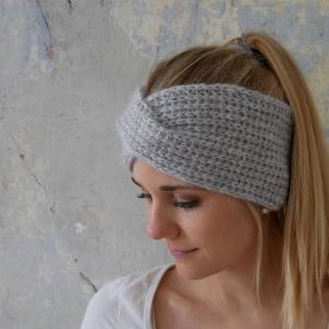 Stirnband mit TWIST Alpaka Baumwolle Wolle für Frauen hellgrau handgestrickt von zimtblüte - Handarbeit kaufen