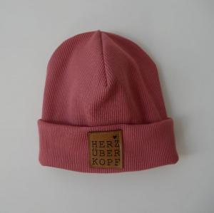 Beanie aus Rippenjersey mit XL Label Hipster Rib Mütze altrosa und andere Farben von zimtblüte    - Handarbeit kaufen