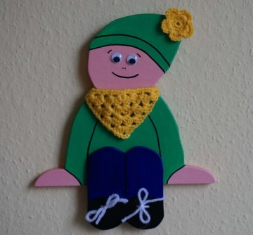 ♡ Kantenhocker oder Wandhänger Variante Wichtel (grün) ♡ amigoll9 ♡ Deko ♡ Handarbeit ♡ - Handarbeit kaufen