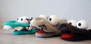 3x Häkelanleitungen für Handpuppen (Krokodil Kroki, Katze Molly & Hund Bello) - Handarbeit kaufen
