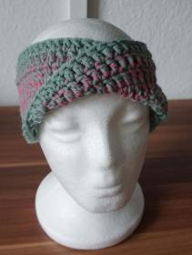 ♡ Stirnband Twist grau/rosa ♡ amigoll9 ♡ Deko ♡ Handmade ♡ - Handarbeit kaufen