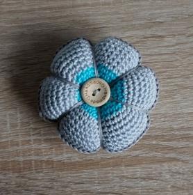 Nadelkissen für Stecknadeln ♡ nähen ♡ blau hellgrau ♡ amigoll9 ♡ Handarbeit ♡ 100% Baumwolle - Handarbeit kaufen