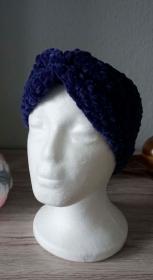 Stirnband Bandeau ♡ Samt blau 53cm-60cm ♡ amigoll9 ♡ Handarbeit - Handarbeit kaufen