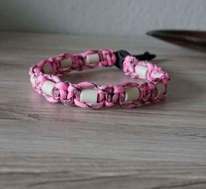♡ Schmuckhalsband rosa ♡ EM-X Keramik ♡  Hundeschmuck ♡ Paracord ♡ amigoll9 ♡ Handarbeit ♡ - Handarbeit kaufen