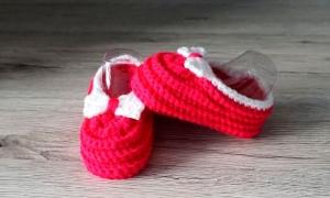♡ Babyschuhe Puppenschuhe Pink Größe 16 ♡ amigoll9 ♡ gehäkelt ♡ Handarbeit ♡ - Handarbeit kaufen