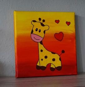 Acrylbild Motiv Giraffe 20cm x 20cm / Kinderzimmer / Deko / amigoll9 ♡ Handarbeit 550