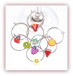 Eröffnungsangebot ♥ 8 Glasmarkierer Früchte, Weinglasringe
