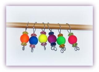 6 Stück Maschenmarkierer NeonBalls, Strickmarker